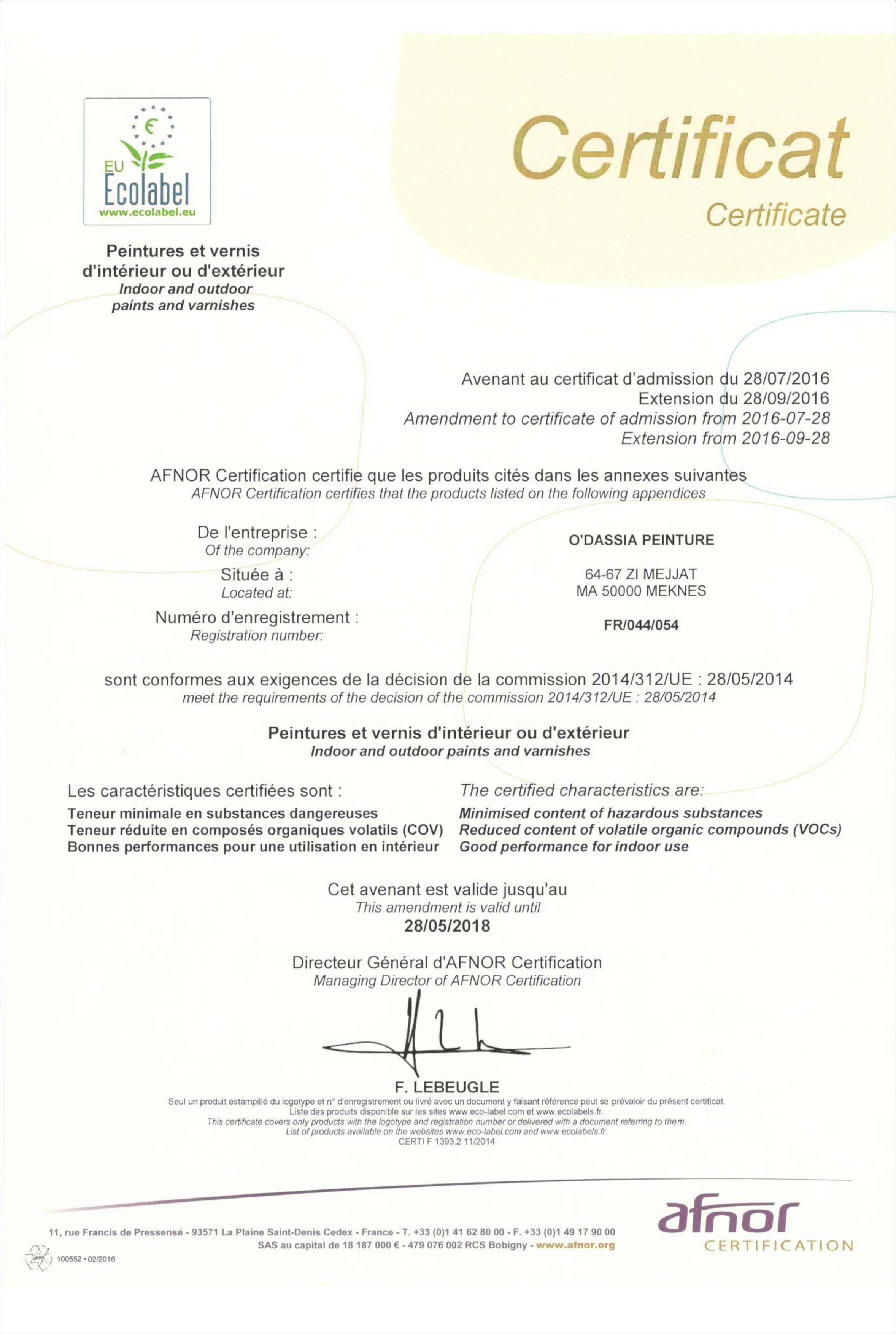Certificat Ecolabel ODAMAT
