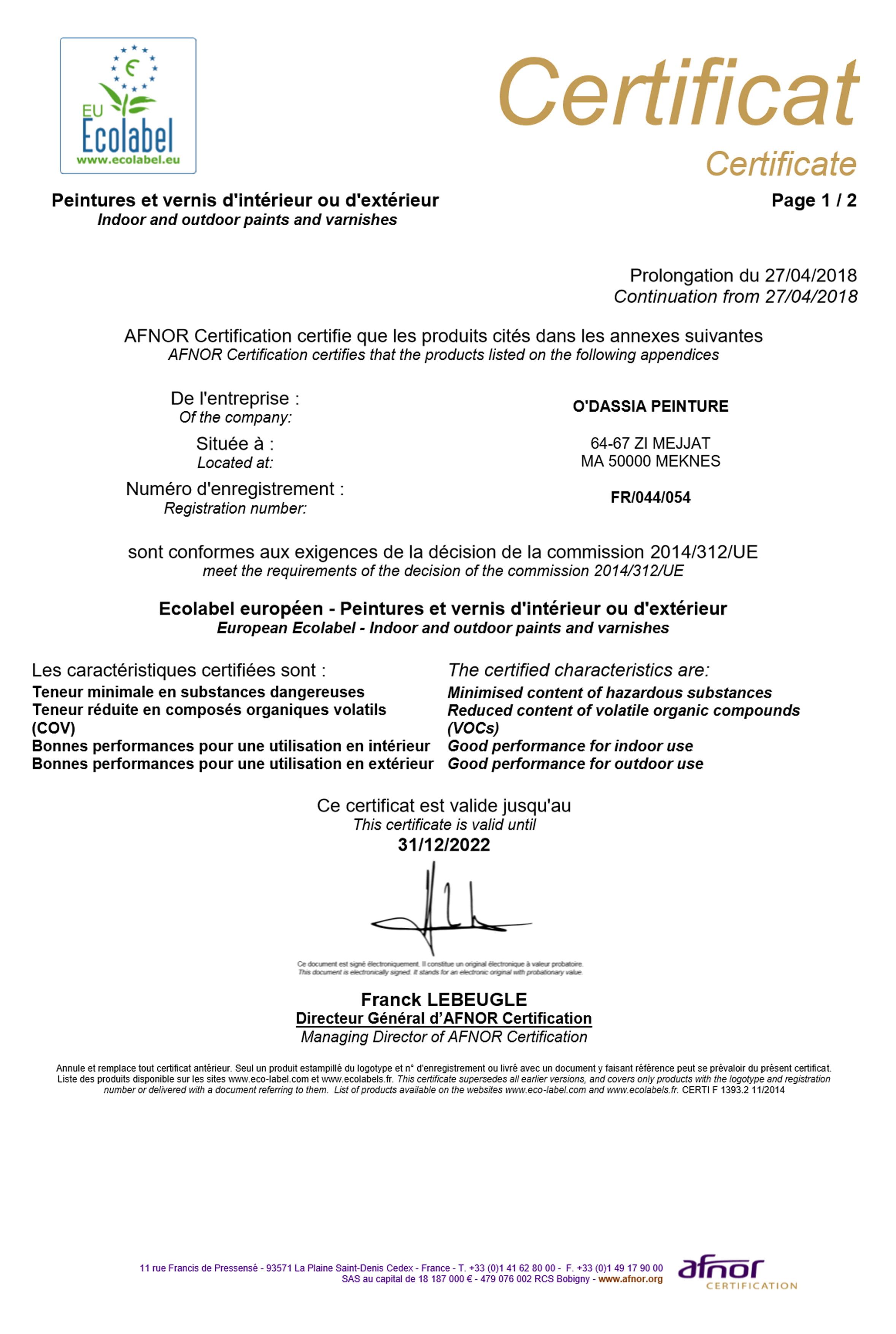 Certificats Ecolabel 2018 au 2022